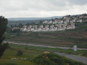 The illegal Israeli settlement of Halamish, that expands on the historical lands of Nabi Saleh, which has also been confirmed by Israel's own Supreme Court of Justice.