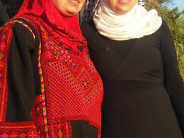 Manal Tamimi(left) and Narriman Tamimi(right), both activists and inhabitants of the village of Nabi Saleh.